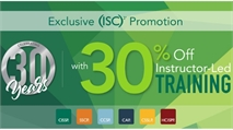 (ISC)²- Celebrating 30 Years of Cybersecurity Excellence with 30% off Online Instructor-Led Training
